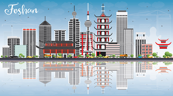 Foshan Skyline with Gray Buildings, Blue Sky and Reflections. - Buildings Objects