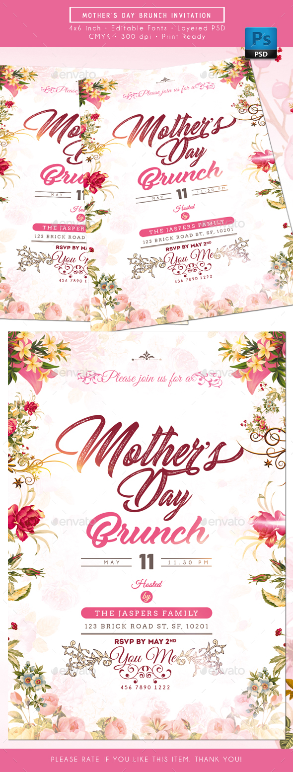 Mother Day Brunch Invitation - Invitations Cards & Invites