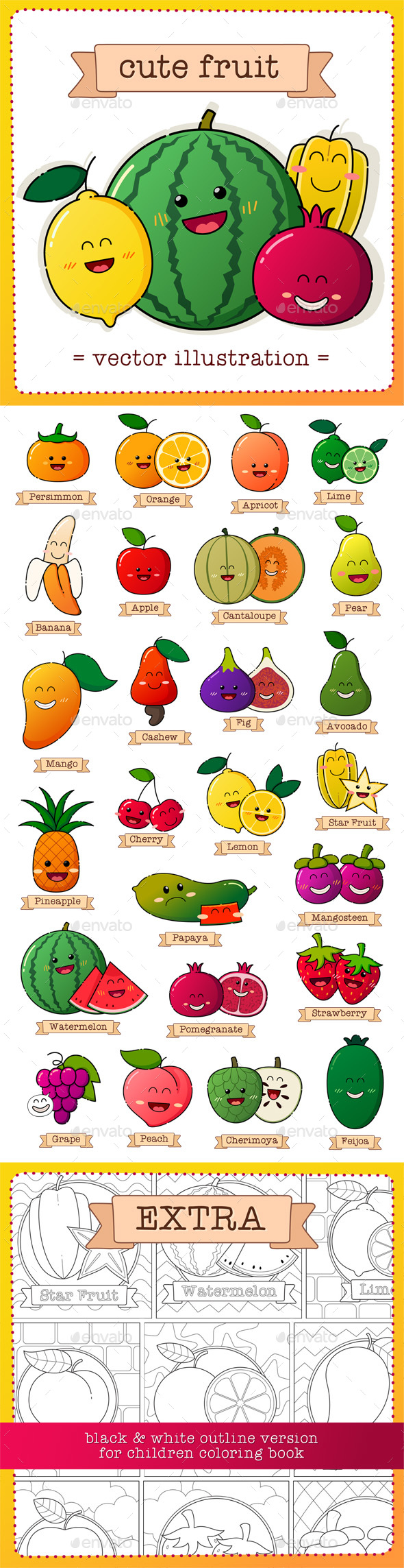 Fruit Vector Illustration - Food Objects
