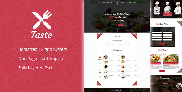 taste one page restaurant psd template by siddhigalande themeforest. Black Bedroom Furniture Sets. Home Design Ideas