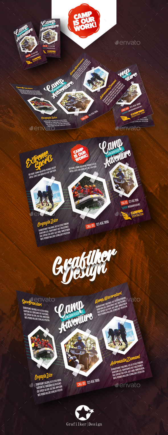 Camping Adventure Tri-Fold Templates - Brochures Print Templates