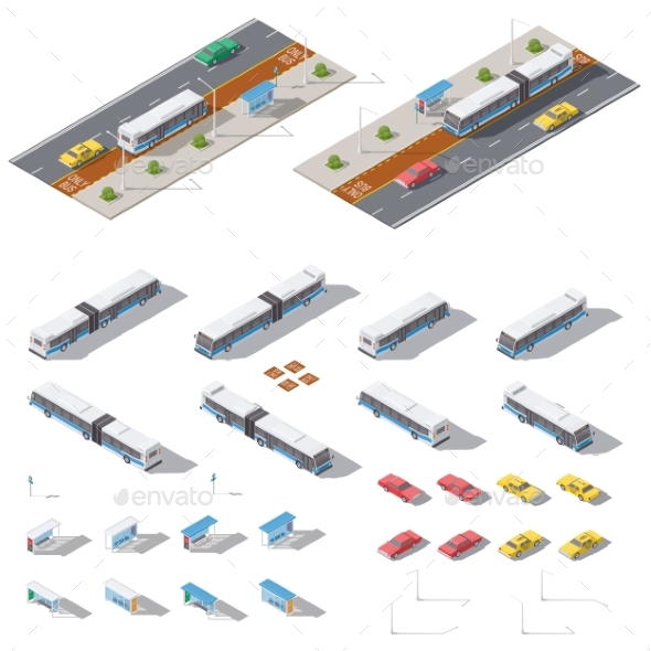 Bus Stop and Road Architecture Isometric Icon Set - Miscellaneous Vectors
