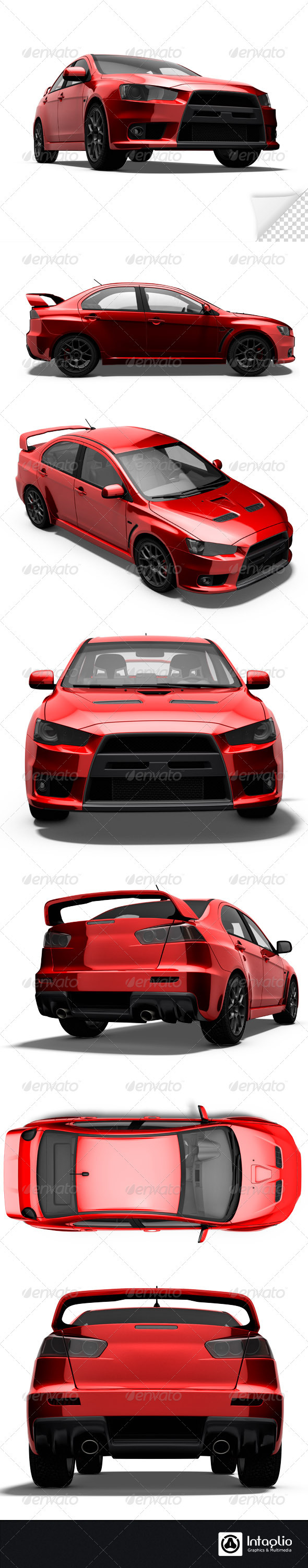 Red Rally Cars Render Bundle - 3D Renders Graphics