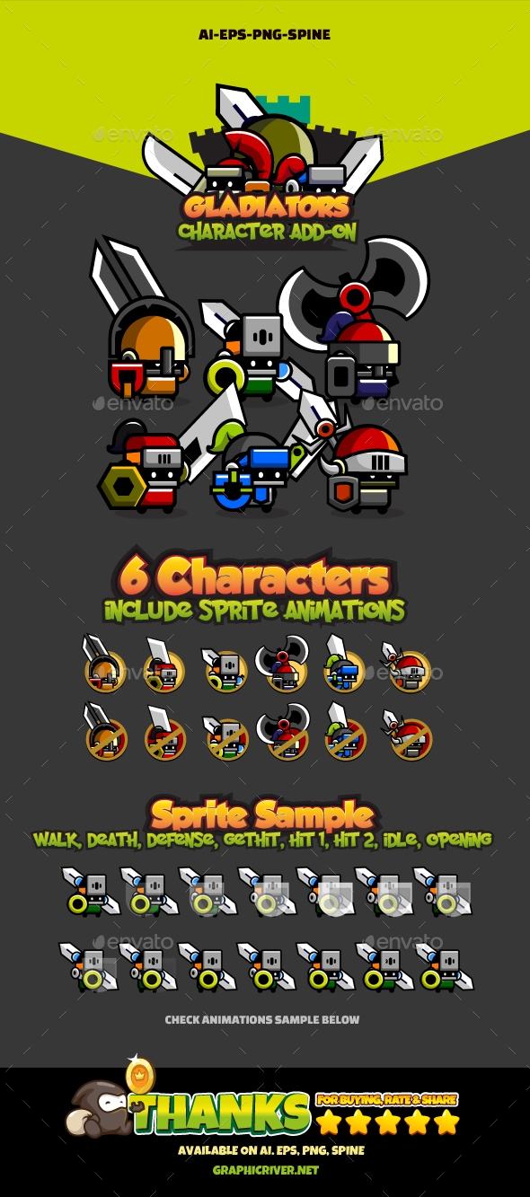 6 Mini Knights - Sprites Game Assets