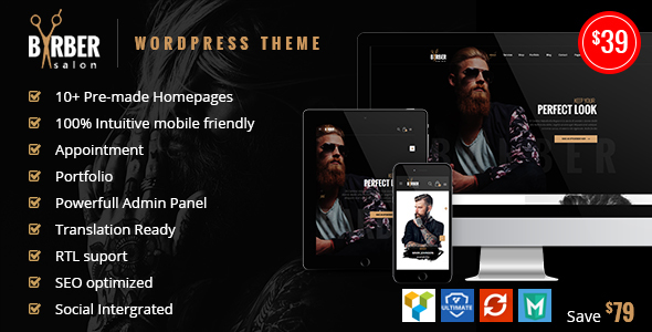 Barber – Hair, Tattoo & Beauty Salons WordPress Theme