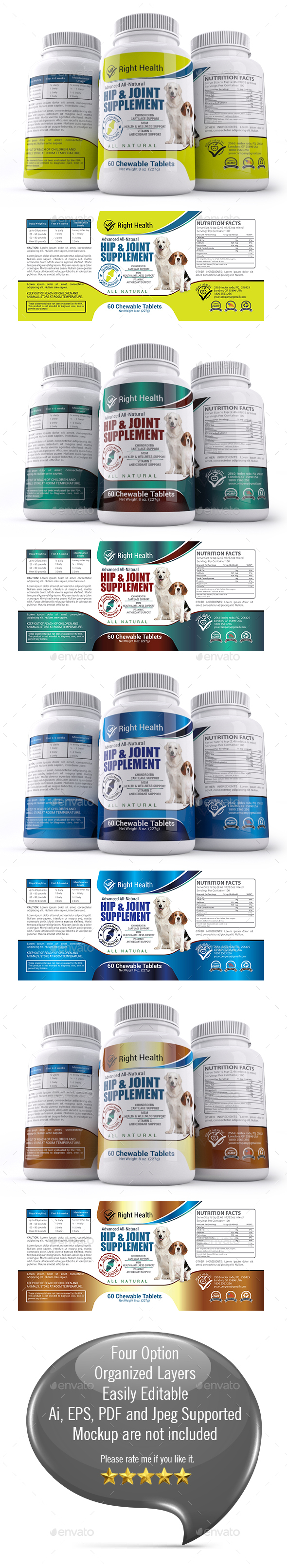 Dog Hip & Joint Supplement Label Templates - Packaging Print Templates