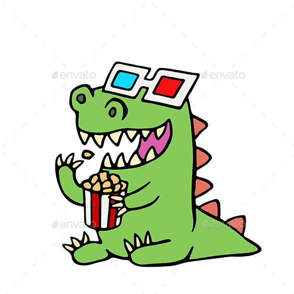 Cartoon Dragon in Stereo Glasses and a Box of Popcorn. - Characters Vectors