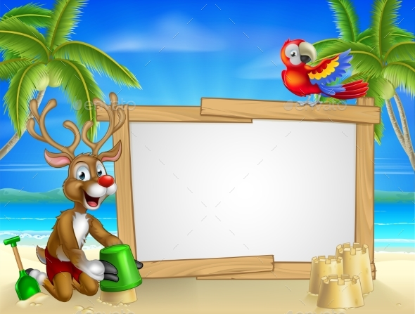 Beach Christmas Santas Reindeer - Seasons/Holidays Conceptual