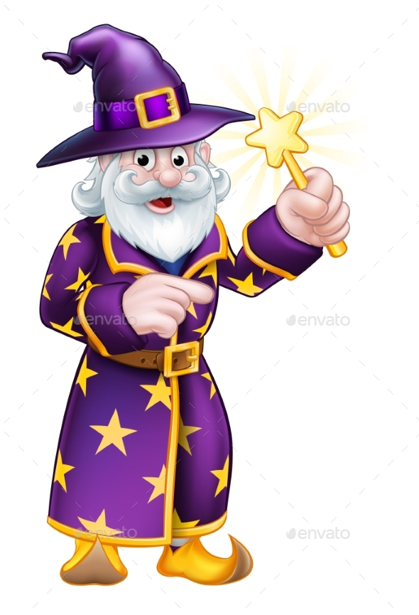 Cartoon Pointing Wizard - People Characters