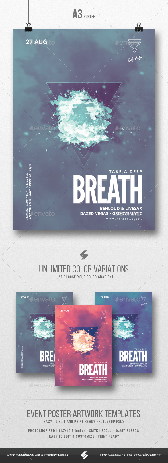 Take A Deep Breath - Minimal Party Flyer / Poster Template A3 - Clubs & Parties Events