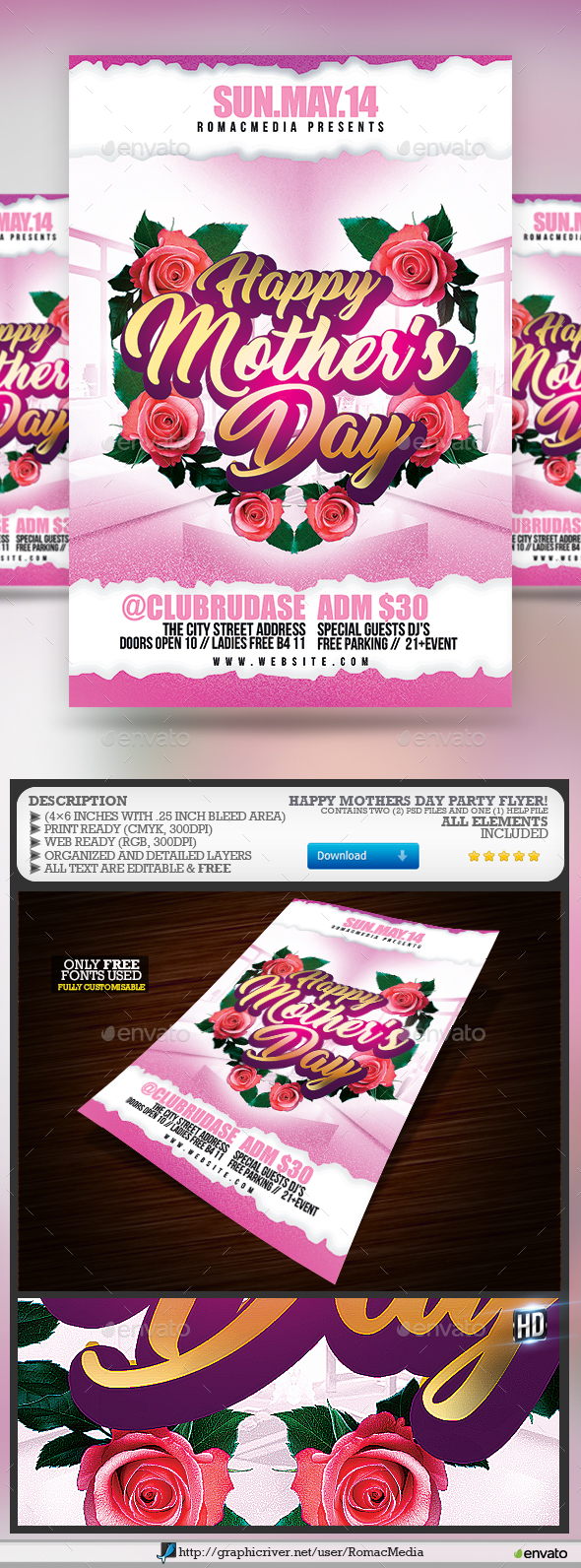 Happy Mothers Day Flyer - Clubs & Parties Events