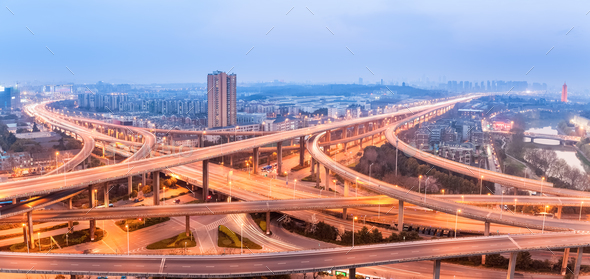 panoramic view of city interchange - Stock Photo - Images
