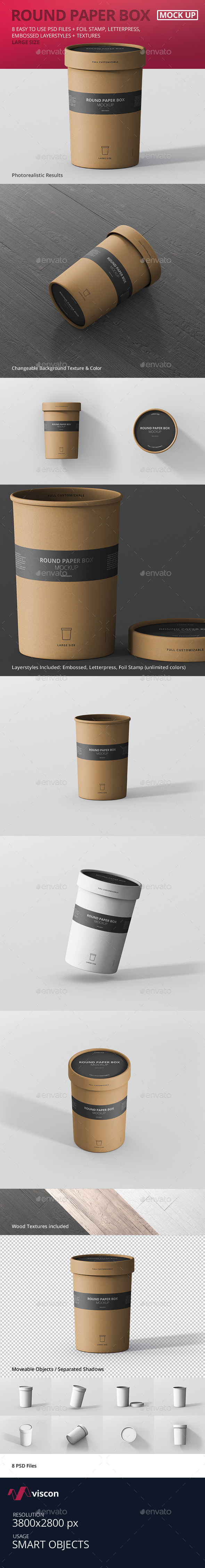 Paper Box Mockup Round - Large Size - Food and Drink Packaging