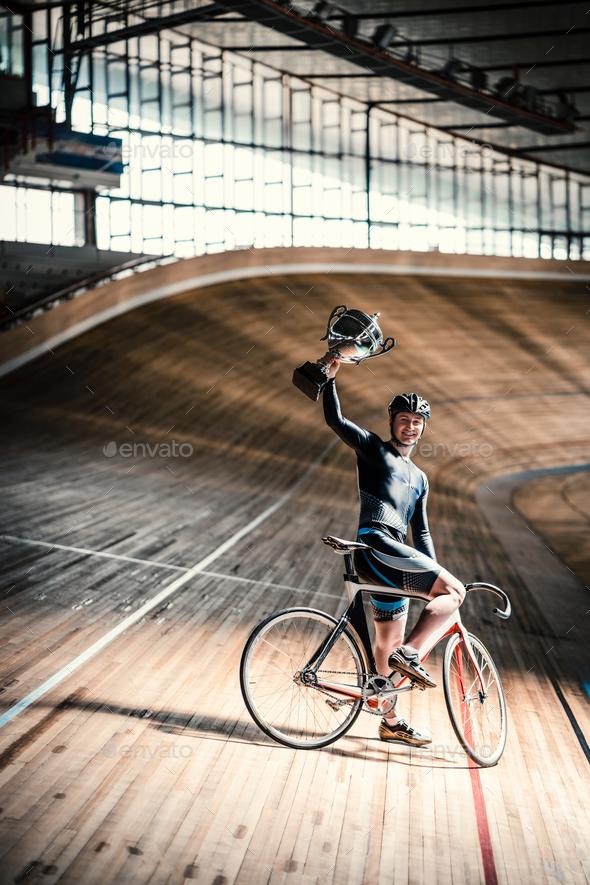 Athlete on velodrome - Stock Photo - Images