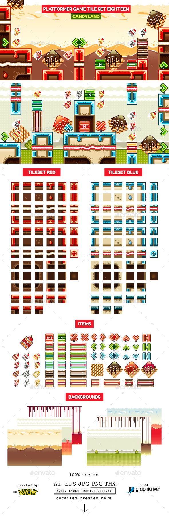 Platformer Game Tile Set Eighteen - Tilesets Game Assets