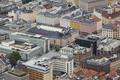 Bergen city center classic buildings. Mount Floyen viewpoint. Norway tourism