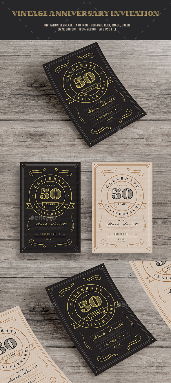 Vintage anniversary Invitation - Cards & Invites Print Templates