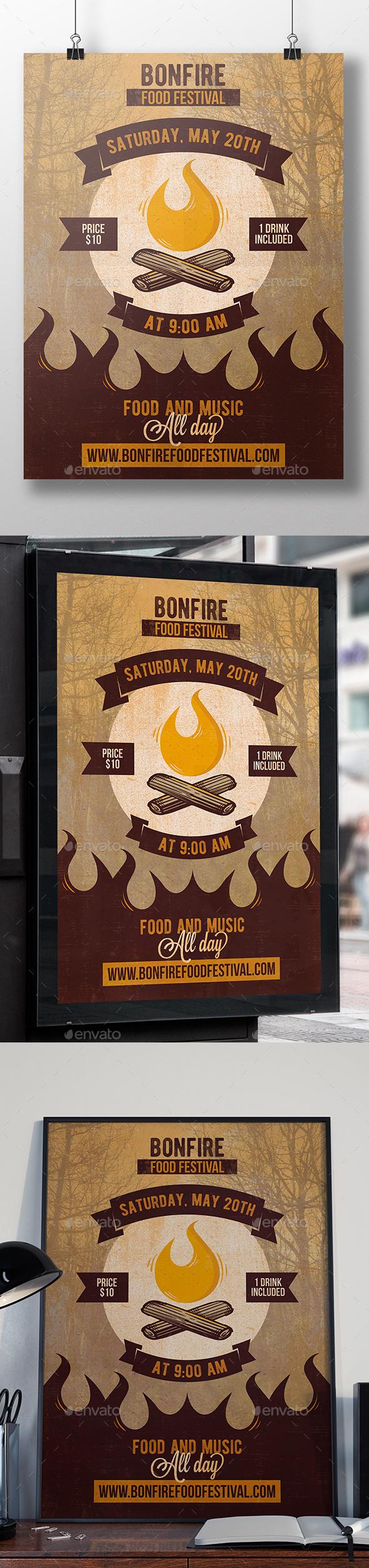 Bonfire Party Flyer Template - Events Flyers