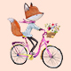 Cute Fox on Bicycle with Flowers - GraphicRiver Item for Sale
