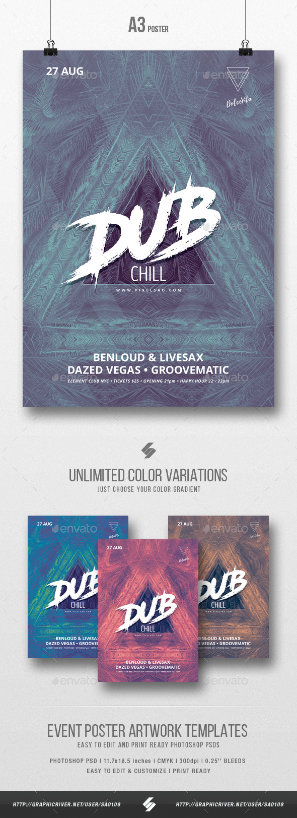 Dub Chill - Party Flyer / Poster Artwork Template A3 - Clubs & Parties Events