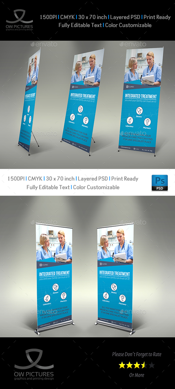 Medical Care Signage Banner Roll Up Template - Signage Print Templates