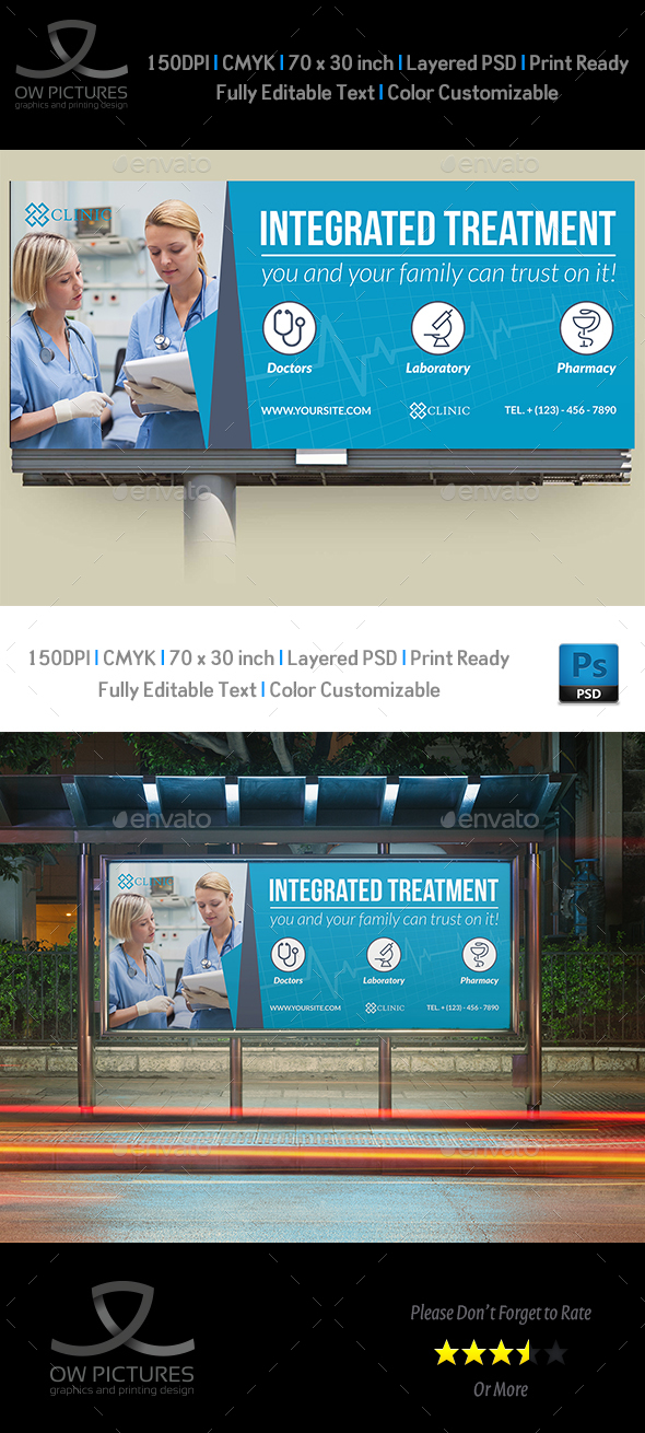 Medical Care Billboard Template - Signage Print Templates