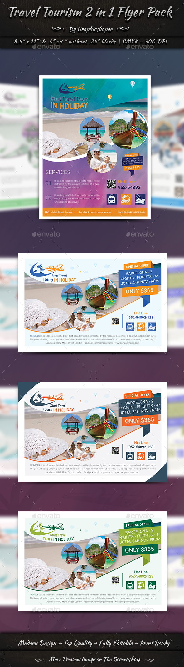 Travel Tourism 2 in 1 Flyer Pack - Corporate Flyers