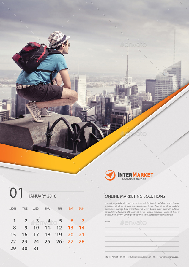 Corporate Business Wall Calendar 2018 V06 By Rapidgraf