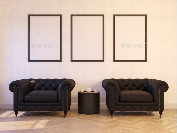 3d Render of a Interior with a Poster - 3D Backgrounds