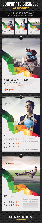 Corporate Business Wall Calendar 2018 V07