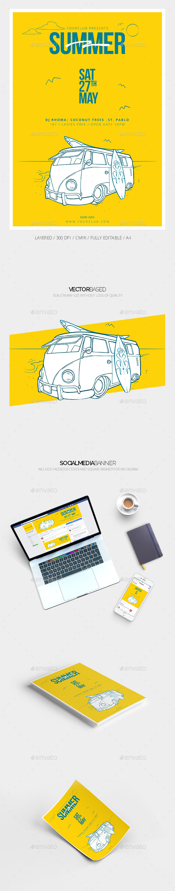 Summer Flyer Template & Social Media Banner - Events Flyers