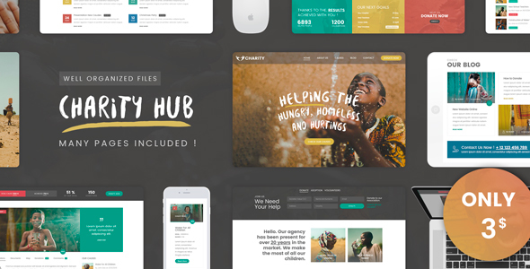 Charity Foundation - Charity Hub PSD Template - Charity Nonprofit