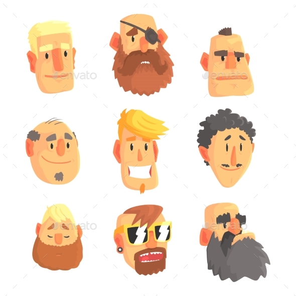 Cartoon Avatar Men Faces with Different Emotions - People Characters
