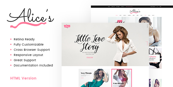 Image of Alices | Lingerie Store HTML Template