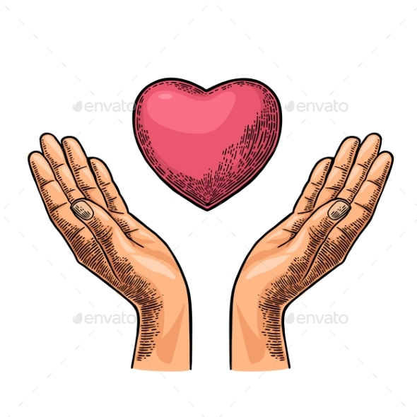Heart in Open Female Human Palms - Miscellaneous Vectors