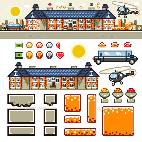 Luxury Mansion in Autumn Flat Game Level Kit - Seasons Nature