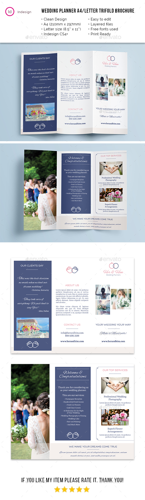 Wedding Planner A4 / Letter Trifold - Brochures Print Templates