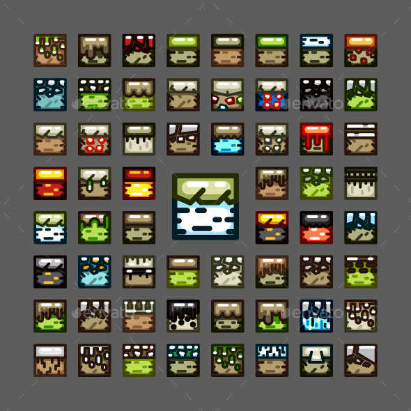 2D Tiles for Creating Video Games - Tilesets Game Assets