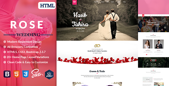 Rose – Wedding Responsive HTML5 Template
