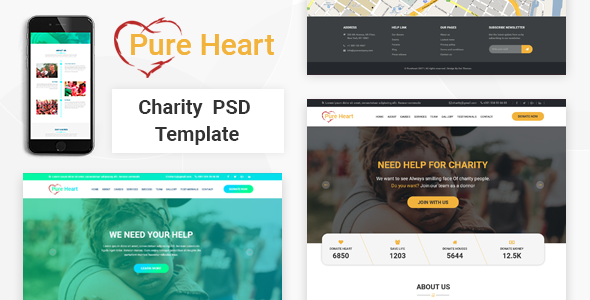 PureHeart - Charity & nonprofit NGO PSD Template