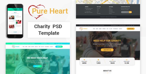 PureHeart - Charity & nonprofit NGO PSD Template