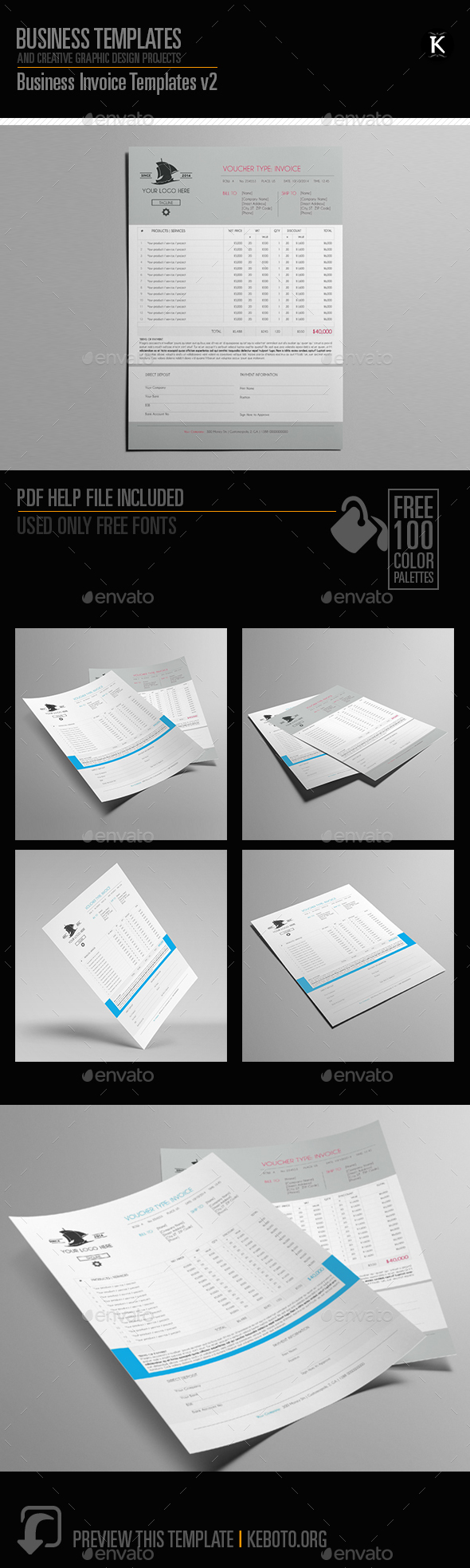 Business Invoice Templates v2 - Miscellaneous Print Templates