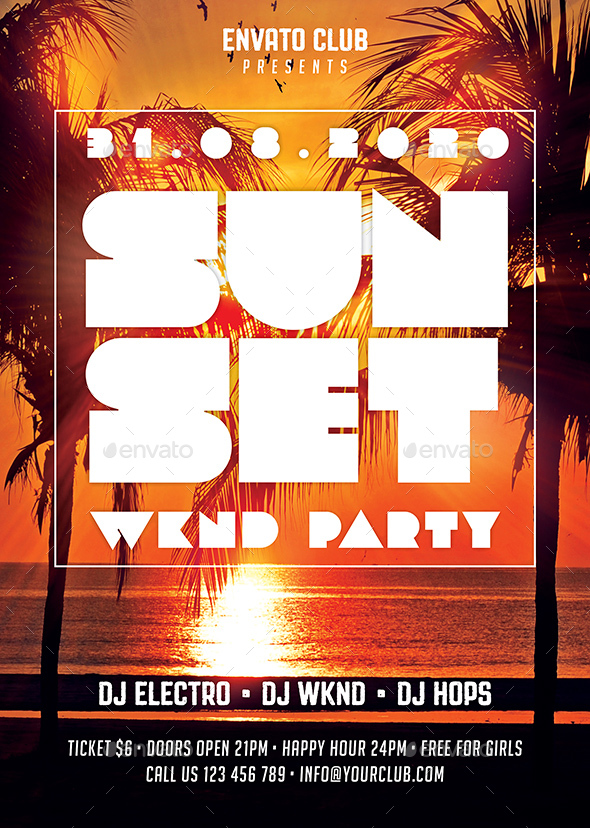 Sunset Party Flyer By Rafiqfarzali  Graphicriver
