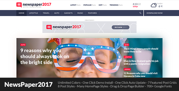 NewsPaper2017 - WordPress Theme for Blog and Magazine