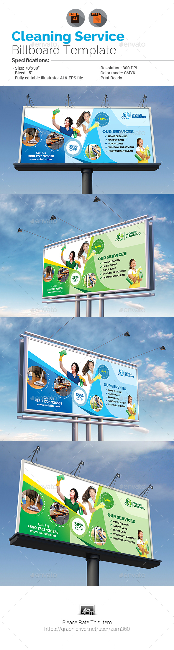Cleaning Services Billboard Template - Signage Print Templates
