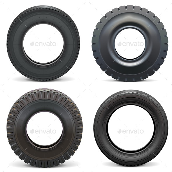 Vector Rubber Tires - Man-made Objects Objects