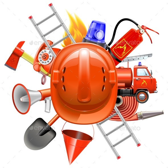 Vector Fire Prevention Concept with Helmet - Industries Business