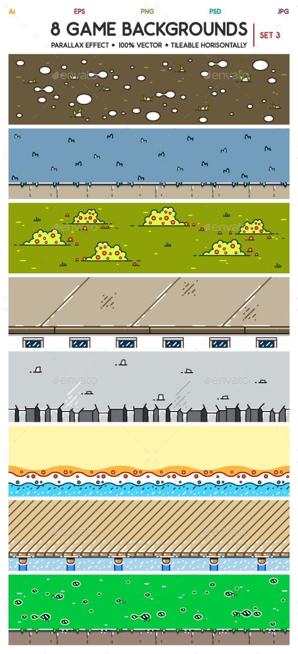 8 3D Game Backgrounds Set 3 - Backgrounds Game Assets