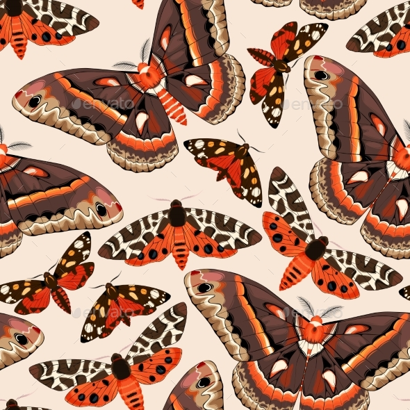 Flying Moths Seamless - Miscellaneous Vectors