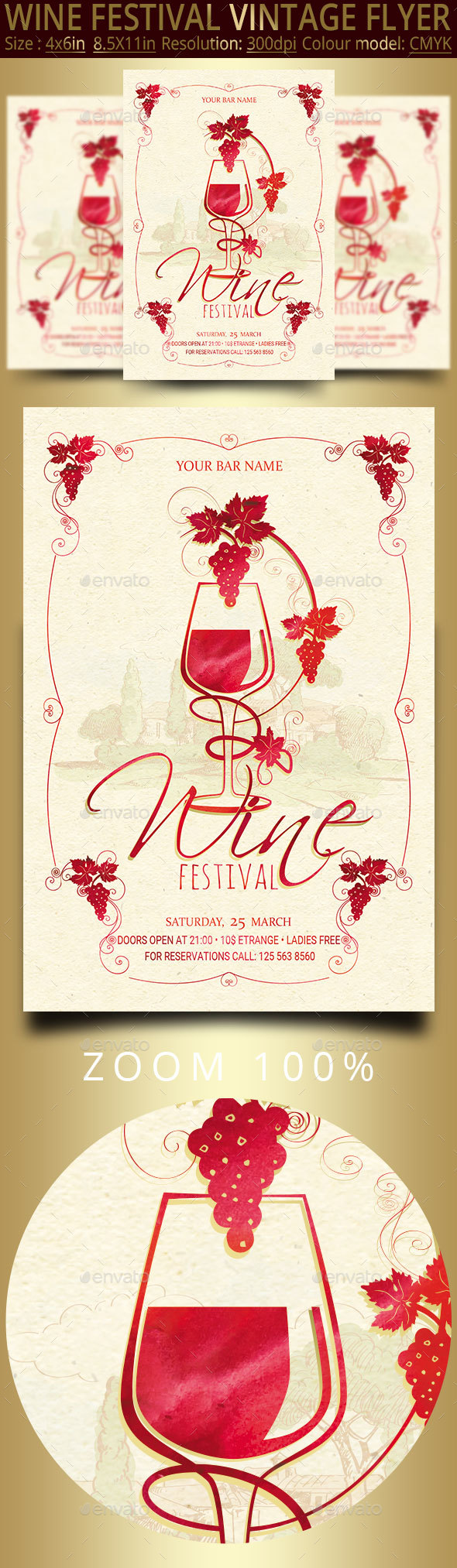 Wine Festival Vintage Flyer - Events Flyers